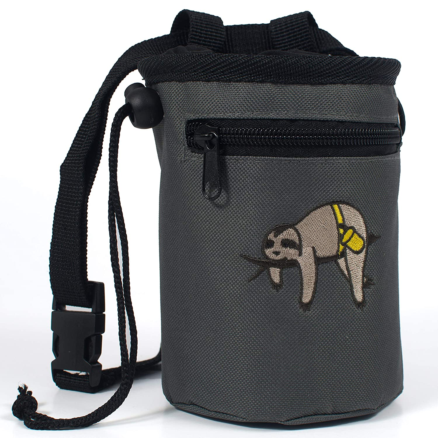 Adjustable Quick-Clip Belt and Embroidered Sloth Design Zippered Pocket Craggys Chalk Bag for Kids and Adults with Drawstring Closure
