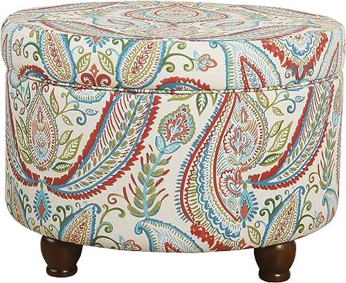 HomePop Upholstered Round Storage Ottoman