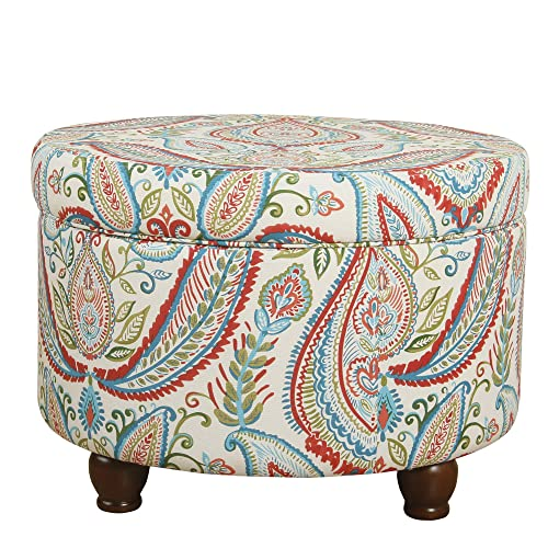 HomePop Upholstered Round Storage Ottoman with LId, Bold Paisley