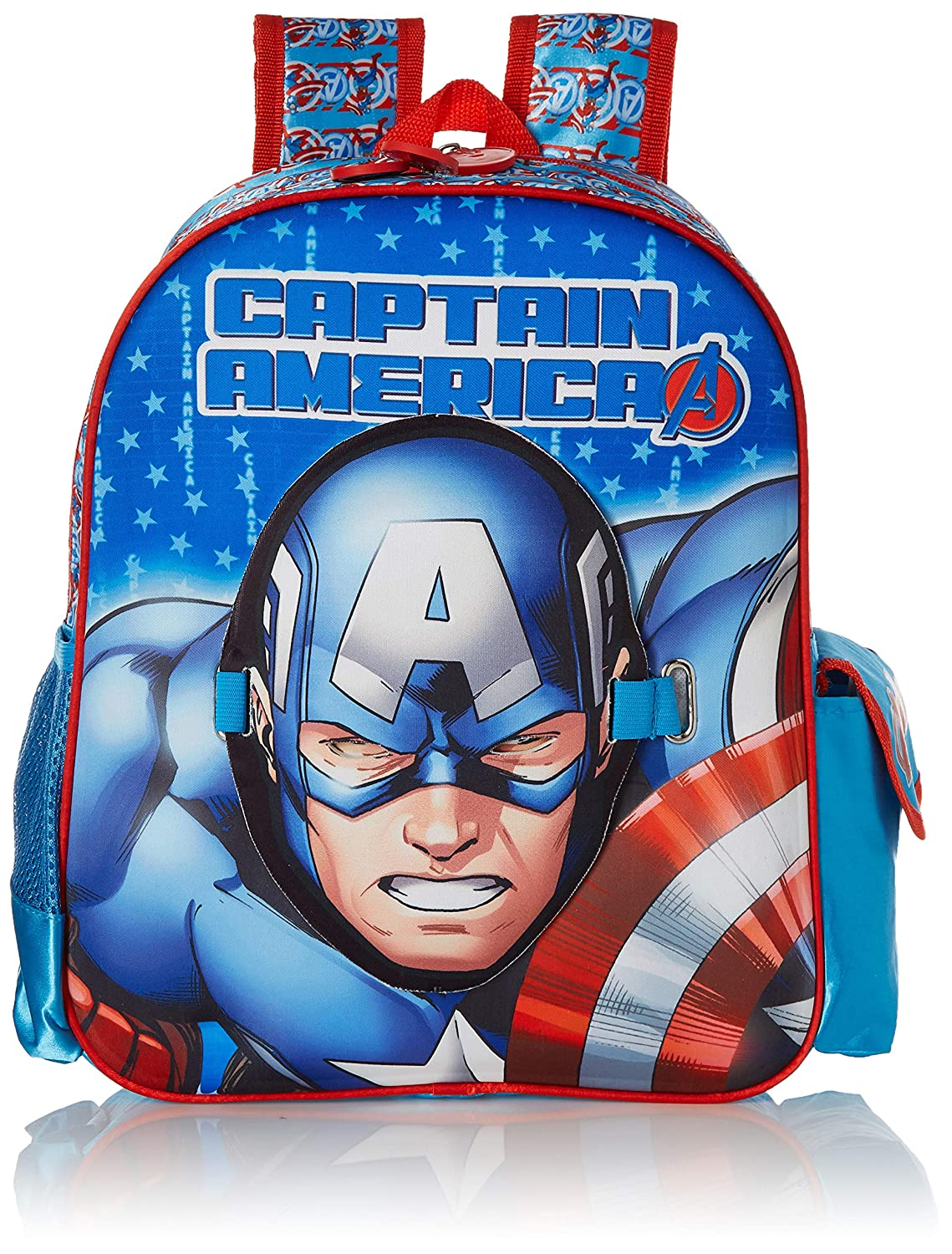 Captain America Polyester 28 cms Blue School Backpack (MBE-WDP1469)