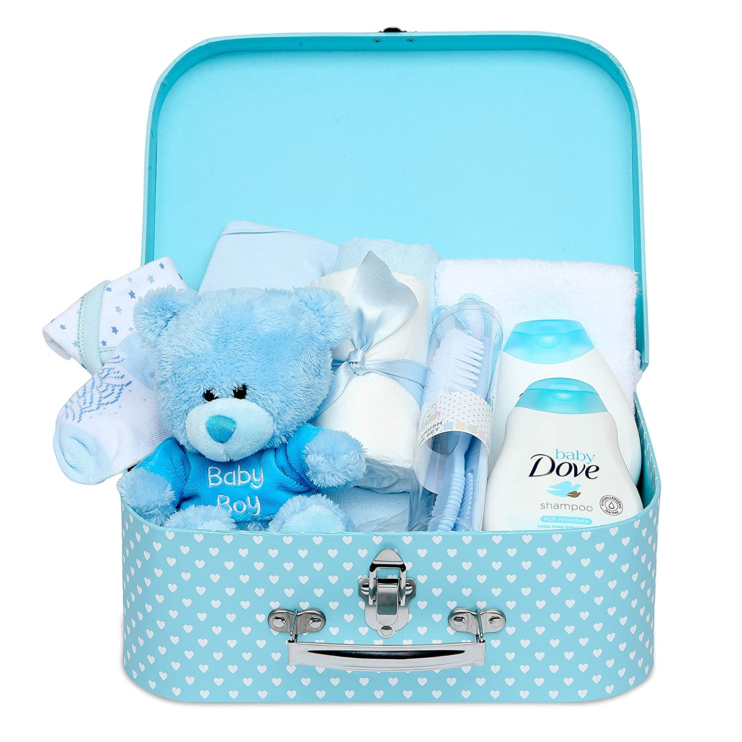 Teddy and Gifts Baby Box Shop Gift Set for New Baby Boy with Baby Clothes