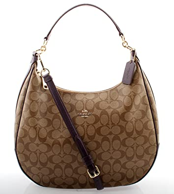 Amazon.com: Coach Harley Hobo in Signature (Khaki/Aubergine ...