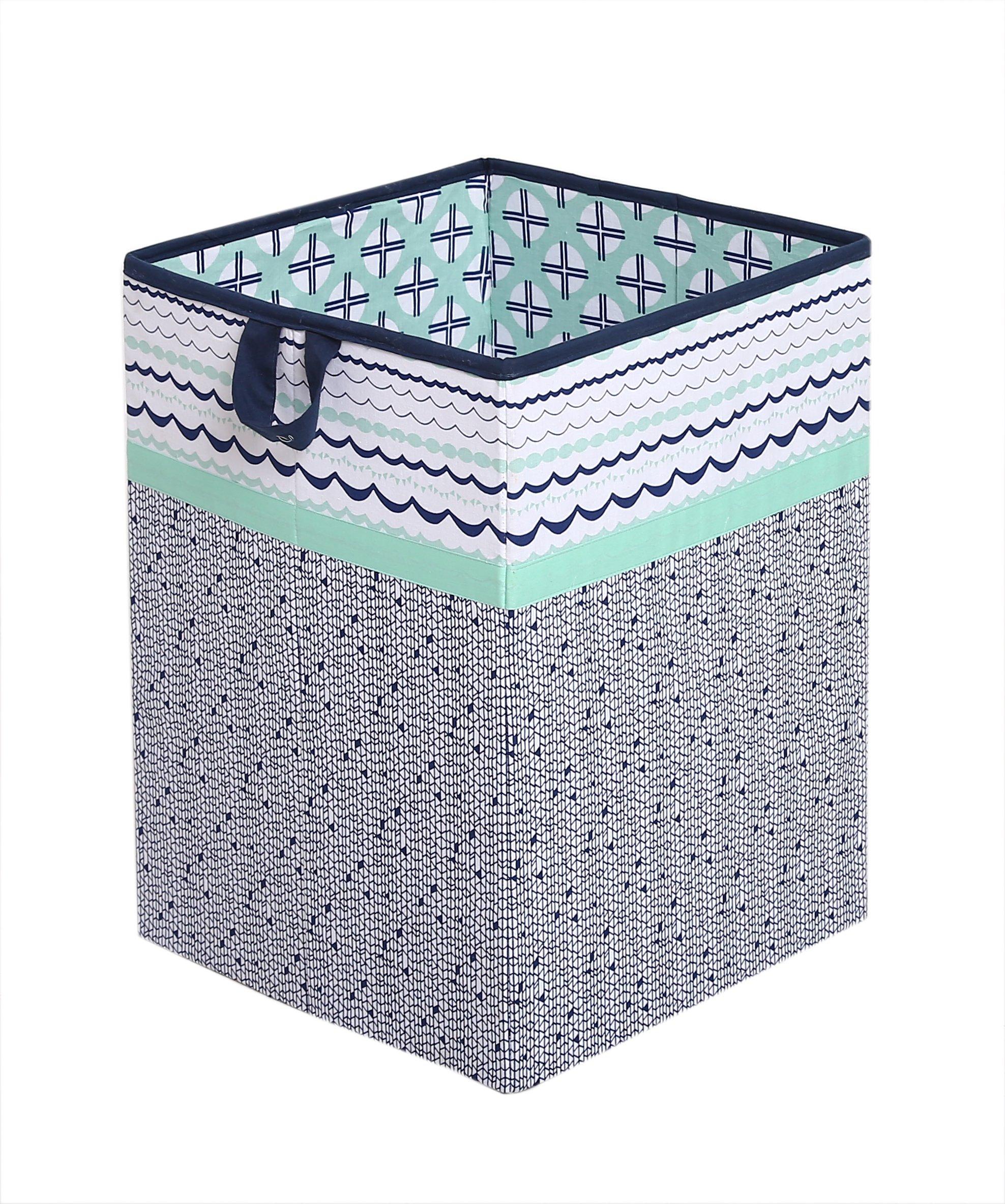 Tribal/Aztec Kids Storage (Hamper 14 x 14 x 19 inches, Mint/Navy)