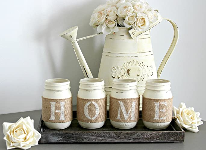 rustic decorative jars with wooden tray as a housewarming gift idea home or table decor - Decorative Jars