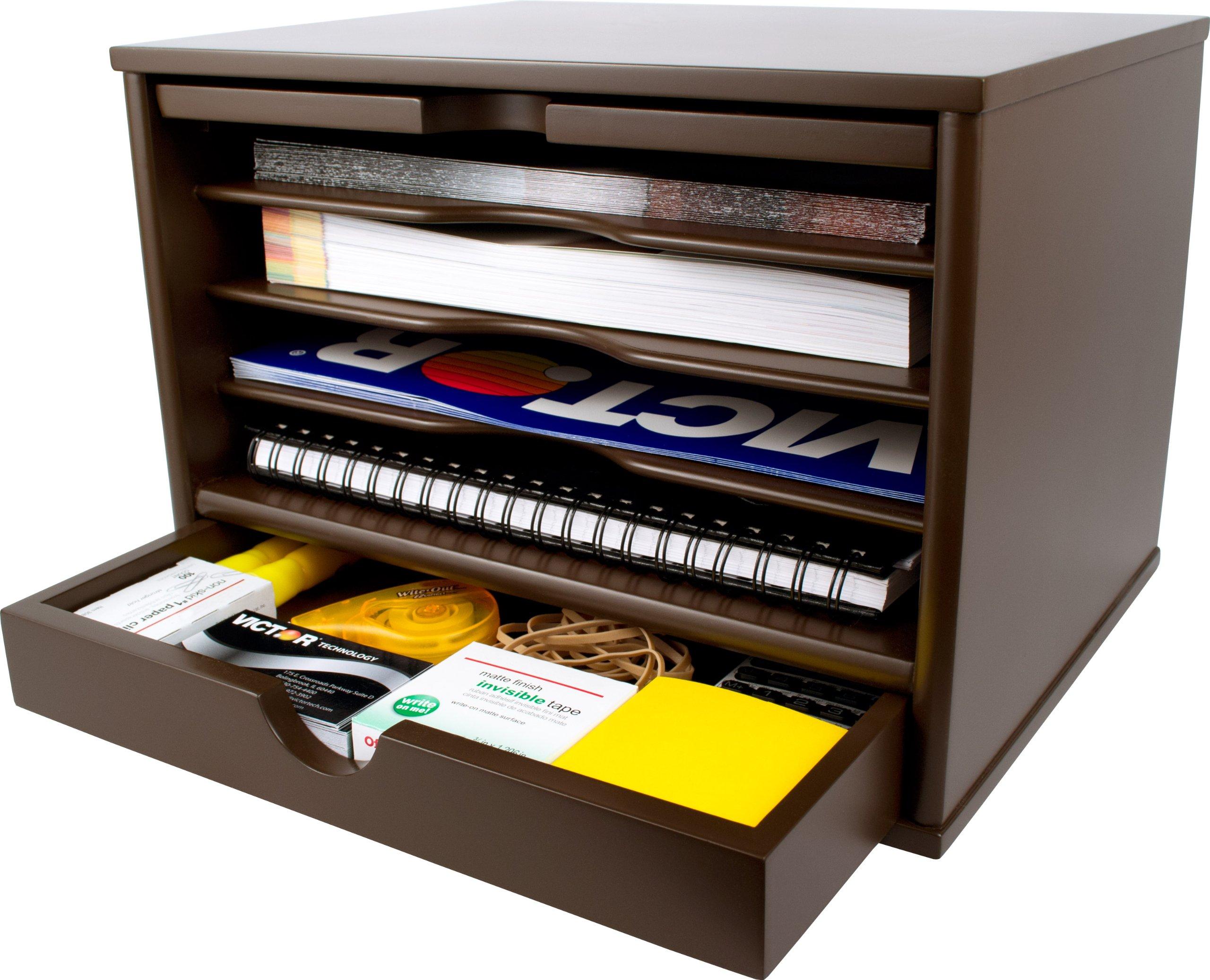 Victor Wood Desktop Organizer with Closing Door, B4720 (Mocha Brown)