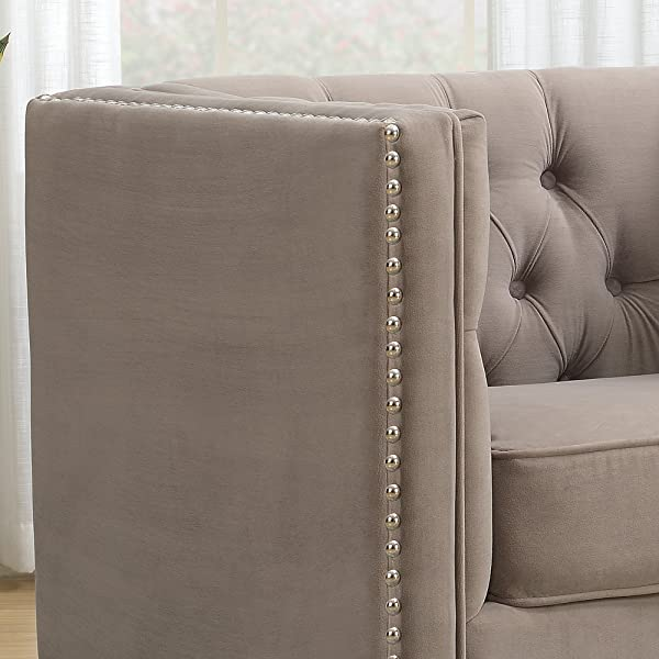 AC Pacific Ariel Collection Contemporary Polyester Velvet Fabric Upholstered Button Tufted Silver Nailhead Accented Living Room Tuxedo Arm Chair with Clear Acrylic Legs, Taupe