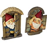 Garden Gnome Statue - Knothole Welcome Gnomes - Gnome Tree  Door & Window Set - Fairy Garden - Gnome Village