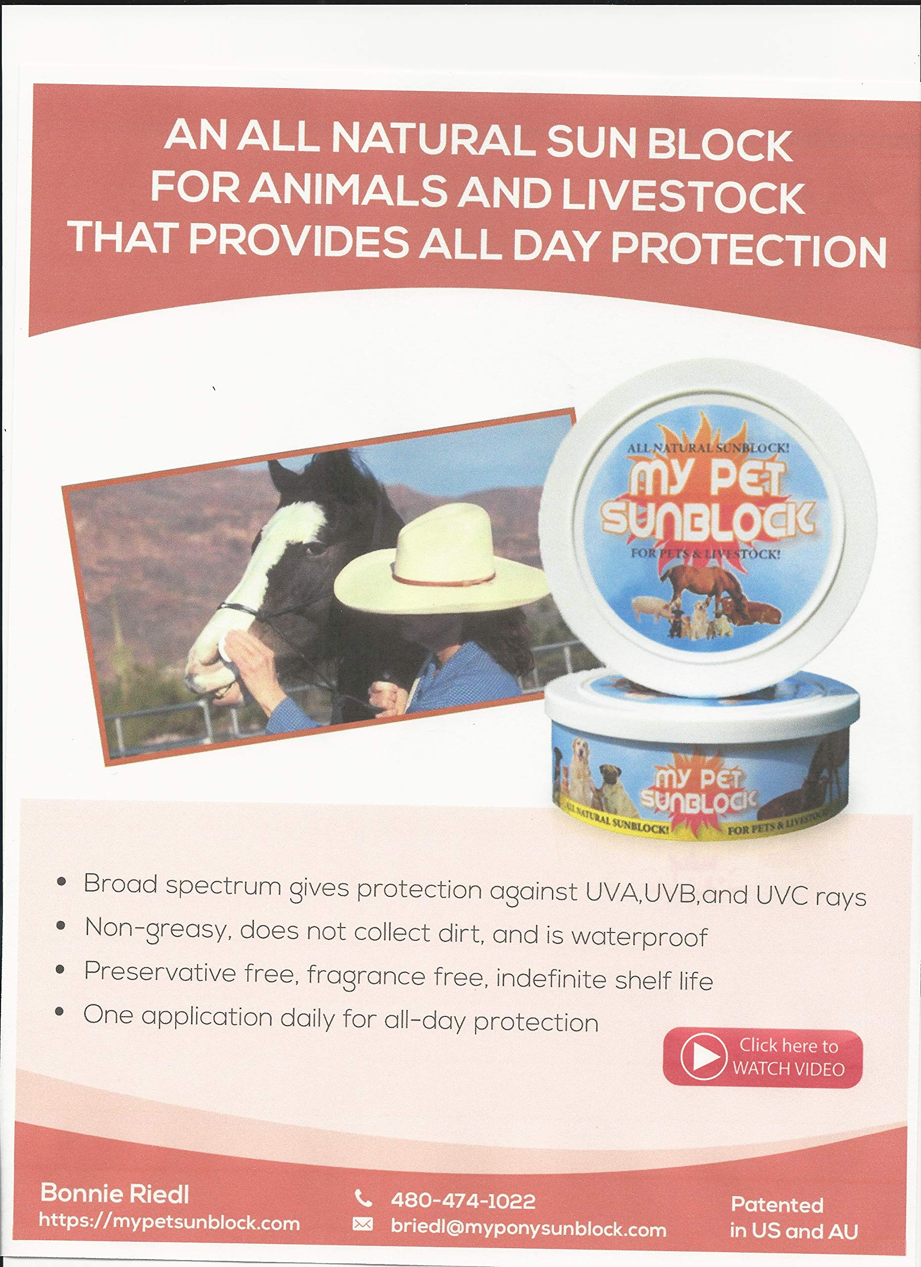 an All Natural Sunblock for Animals and Livestock That Stays on All Day! UVA, UVB, and UVC Protection. It is a Physical Barrier just POP The top PAT on Your pet Protect Them from UV Rays FDA reviewed by my pet sun block