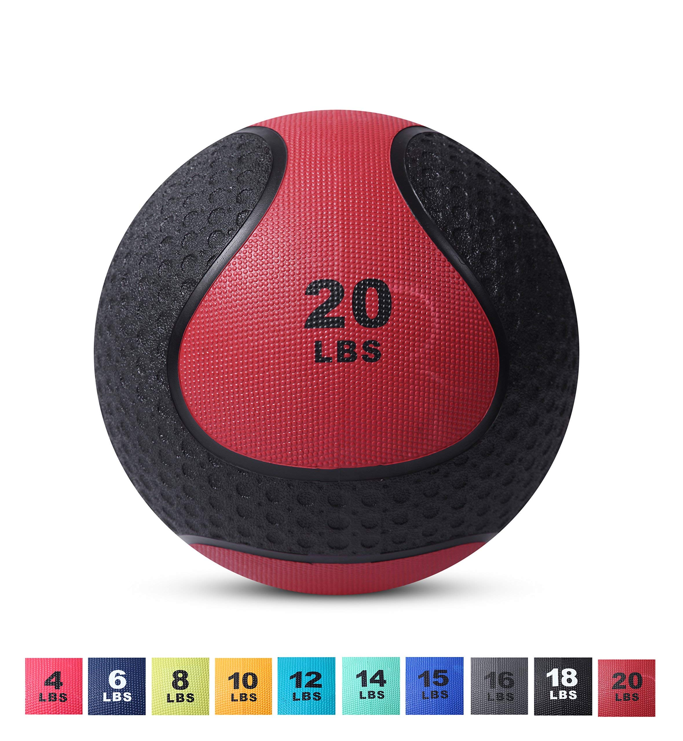 Day 1 Fitness Medicine Exercise Ball with Dual Texture for Superior Grip 20 Pounds - Fitness Balls for Plyometrics, Workouts - Improves Balance, Flexibility, Coordination (Renewed)