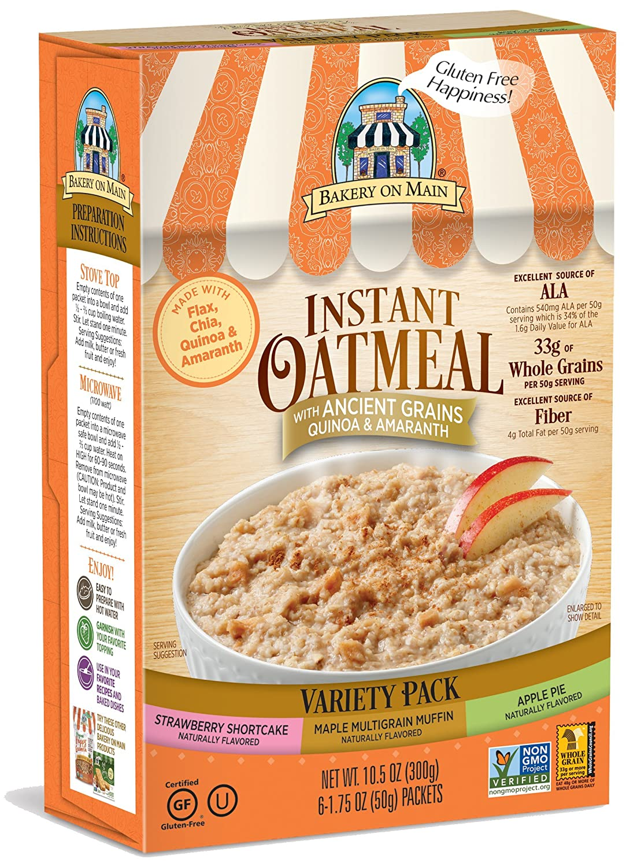 Bakery on Main Gluten Free Non-GMO Instant Oatmeal, Variety ...