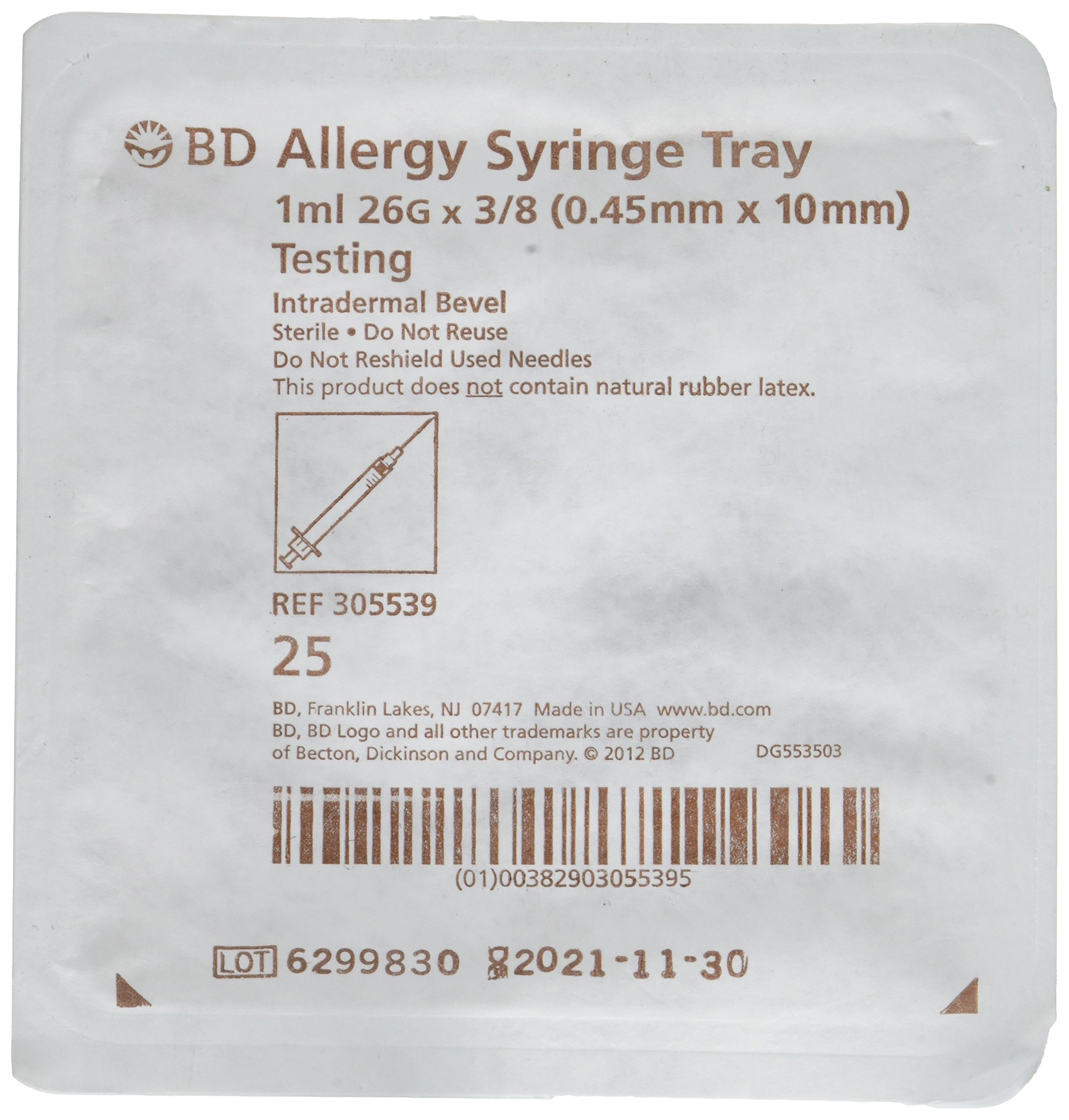 Bd Allergy Syringe Testing Tray 1ml 26g X 3/8 Pack of 25 (305539) Intradermal Bevel