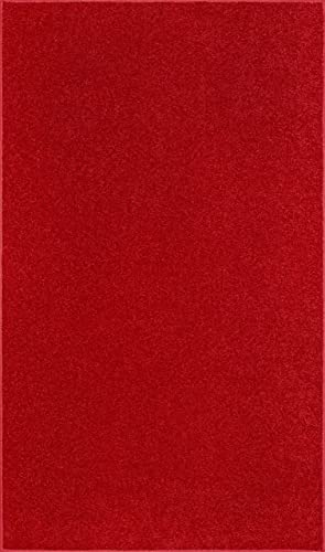 Ambiant Saturn Collection Pet Friendly Area Rug Red – 2 x3