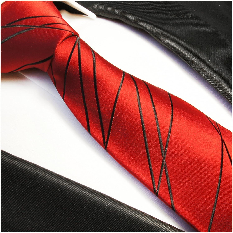 Rotes Krawatten Set 2tlg 100/% Seidenkrawatte mit Einstecktuch