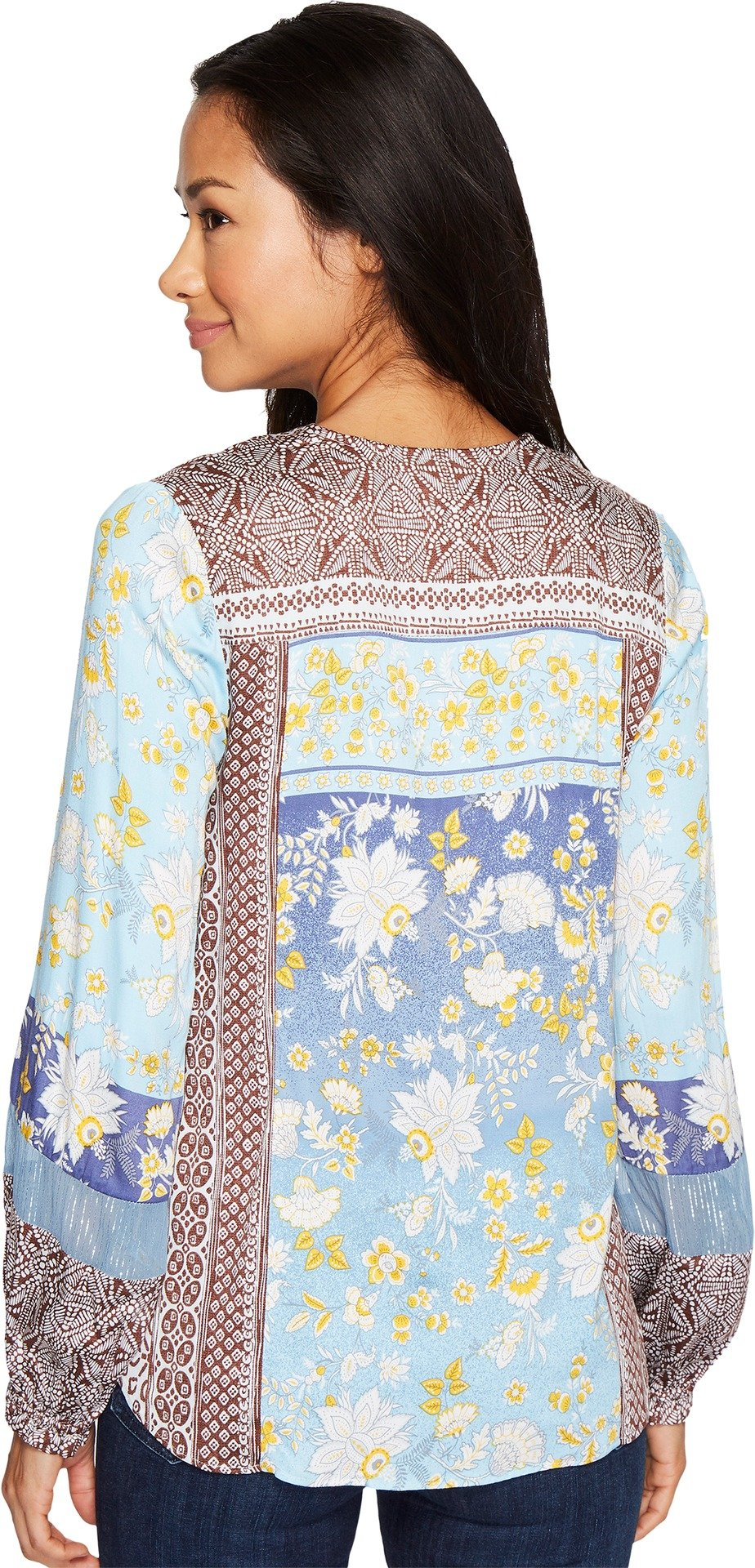 Hale Bob Women's A Fine Line Stretch Satin Woven Top Blue Shirt