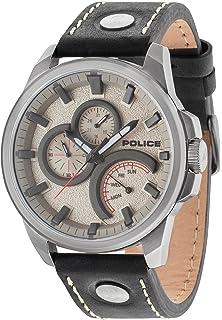 Police Mens 48mm Black Leather Band Steel Case Quartz Grey Dial Analog Watch 14799JSU/61