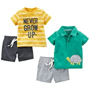 Simple Joys by Carter's Baby Boys' 4-Piece Playwear Set, Yellow Stripe/Green Turtle, 0-3 Months