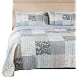 SLPR Wildflowers 2-Piece Real Patchwork Cotton Quilt Set (Twin) | with 1 Sham Pre-Washed Reversible Machine Washable Lightweight Bedspread Coverlet