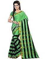 Glory Sarees Cotton Saree (Jari109_Green And Black)
