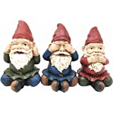 Three Wise Whimsical Gnomes See Hear Speak No Evil Dwarf Gnome Collectible  Figurine Set Of 3