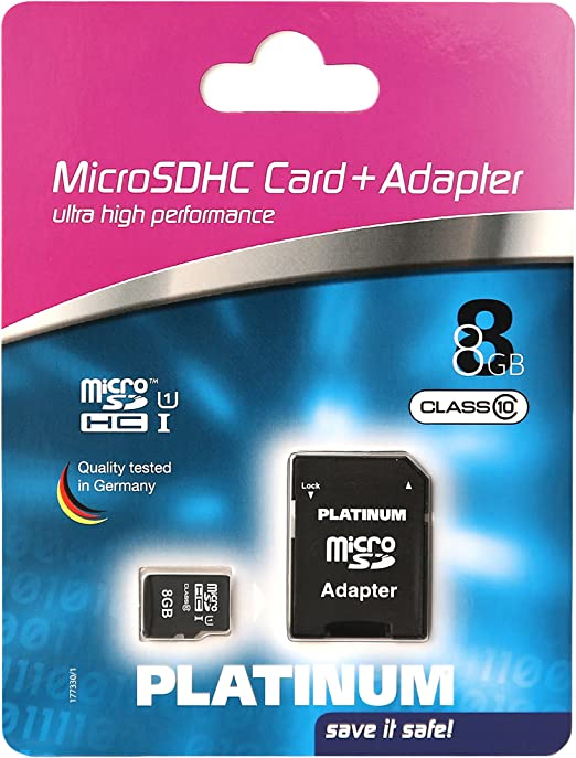 Platinum 8gb Class 10 Micro Sdhc Memory Card With Sdhc Computers Accessories