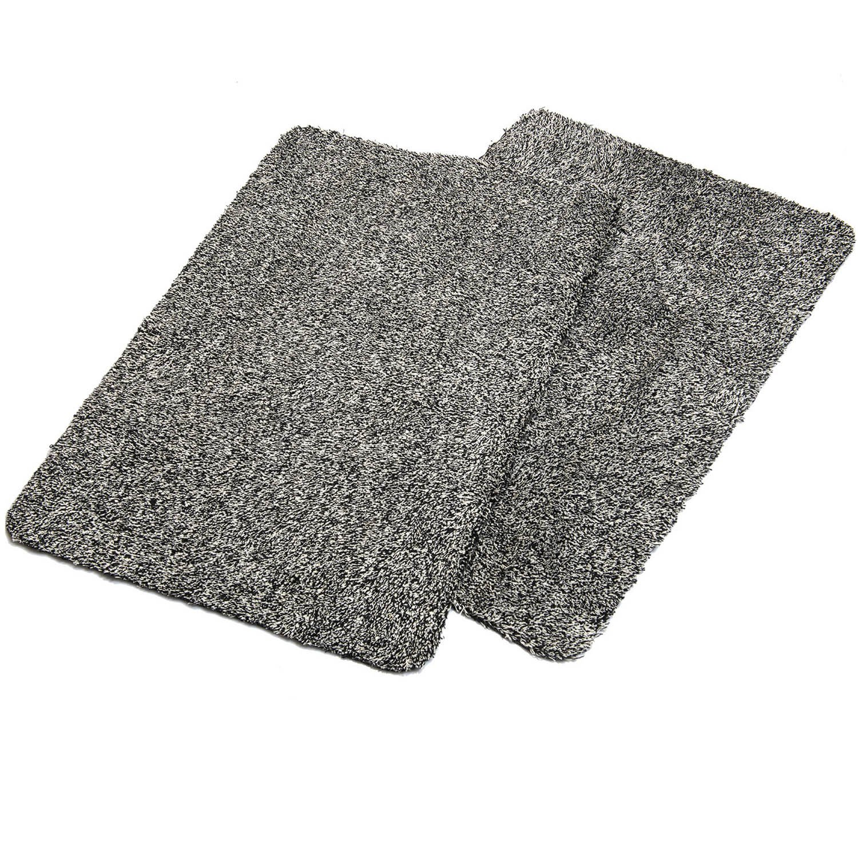 """Haven Homes Clean & Tidy Indoor Doormat Twin Pack - Super Absorbent Door Mats - Latex Backing Non Slip Door Mats - Entrance Rugs 18""""x28"""" Machine Washable 2 Black Doormats"""