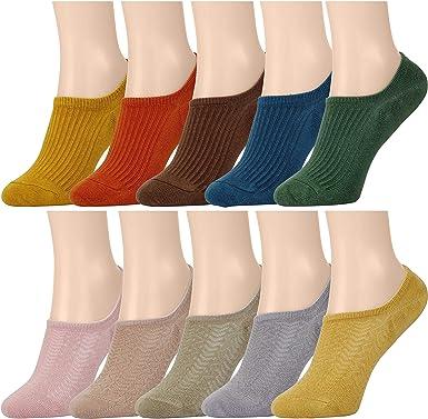 MaoXinTek Calcetines Invisibles Mujer 10 Colores Transpirable Algodón Calcetines Cortos Elástco Con Silicona Antideslizante para Niña Juventud EU 35-40 10 pares: Amazon.es: Ropa y accesorios