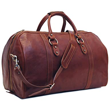 93c4732784bd Image Unavailable. Image not available for. Color  Floto Roma Cabin Bag  Saddle Brown Italian Leather Weekender Duffle