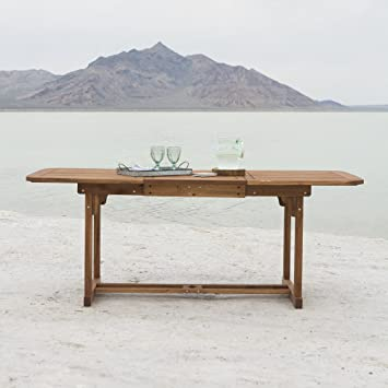 Walker Edison Furniture Company Solid Acacia Wood Patio Extendable Dining  Table   Brown. Amazon com   Walker Edison Furniture Company Solid Acacia Wood