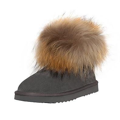 517574aadddf SKUTARI Wildleder Damen Winter Boots Warm Gefüttert Schlupf-Stiefel mit  Stabile Sohle Weiche Fell