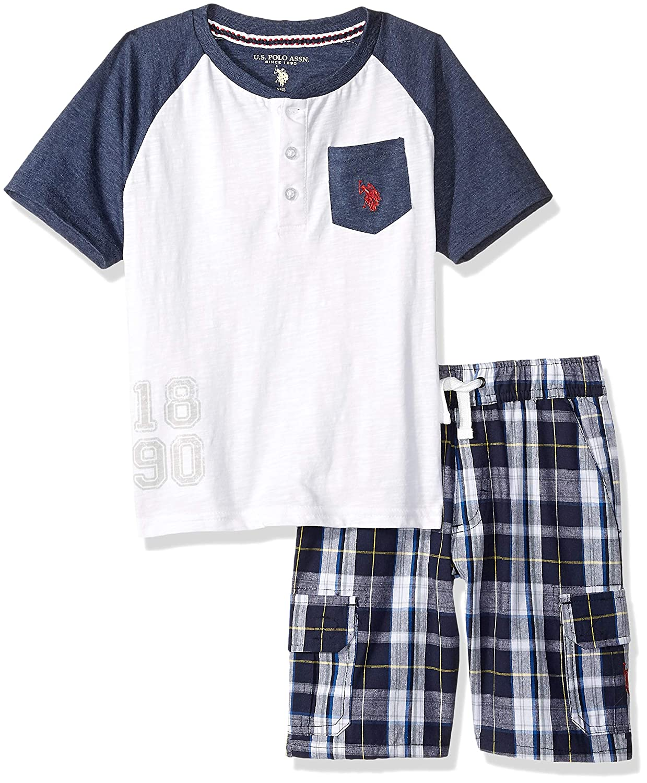 U.S Polo Assn Boys Sleeve Henley T-Shirt and Pull-on Short