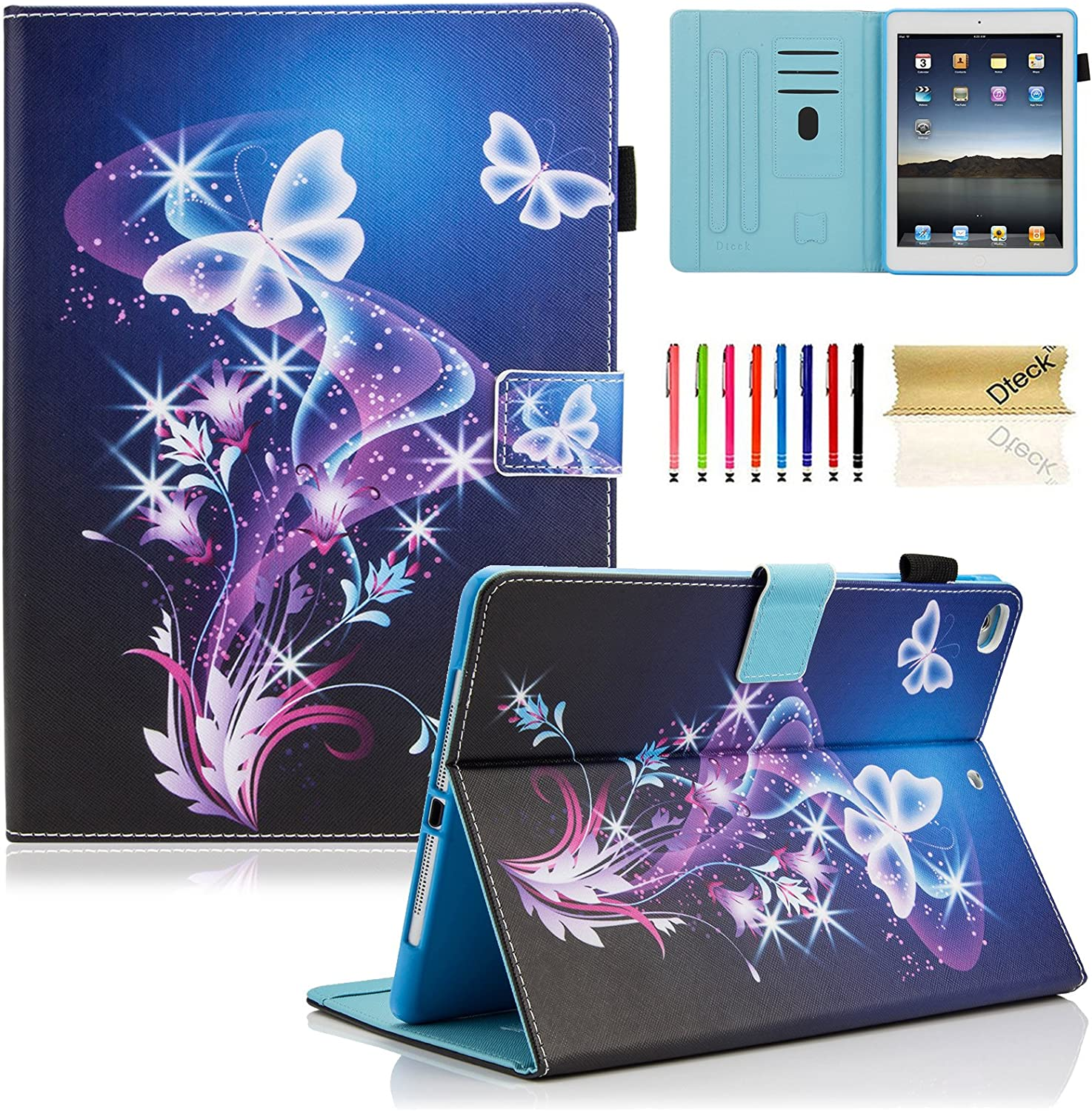 iPad 9.7 inch 2018 2017 Case/iPad Air Case/iPad Air 2 Case, Dteck PU Leather Folio Smart Cover with Auto Sleep Wake Stand Wallet Case for Apple iPad 6th / 5th Gen,iPad Air 1 2, Purple Butterfly