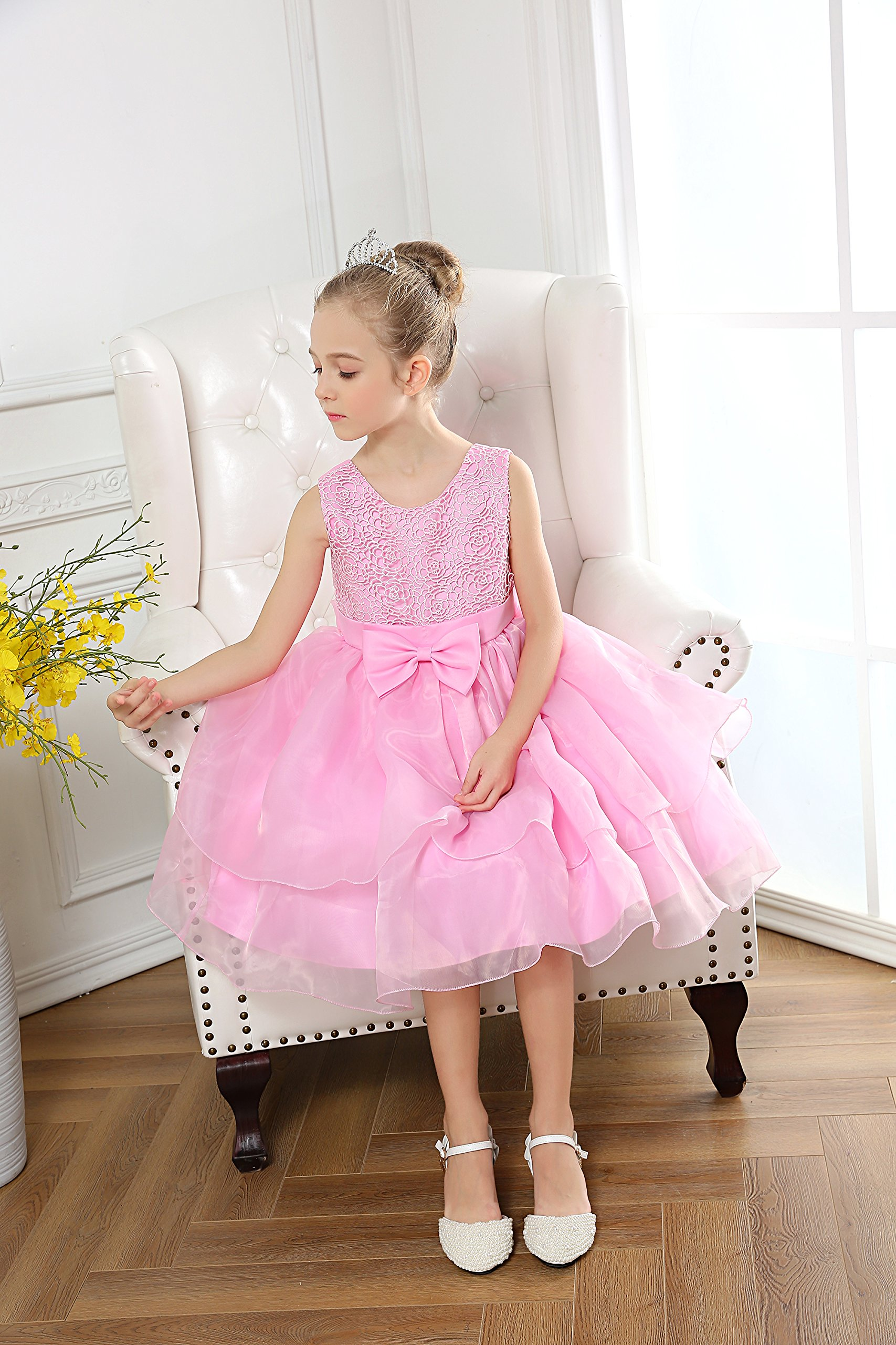 Fiream Flower Girls Dresses Tulle Sleeveless Princess Pageant Wedding Party Dresses(pink,3T/3-4YRS) by Fiream (Image #4)