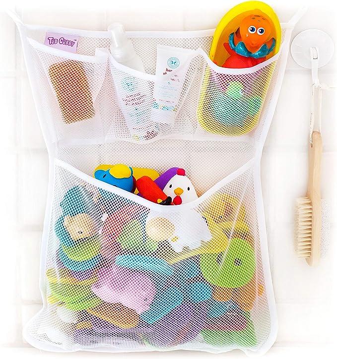 Two Pocket Bath Toy Organizer Washable Mesh Hanging Storage Compartment