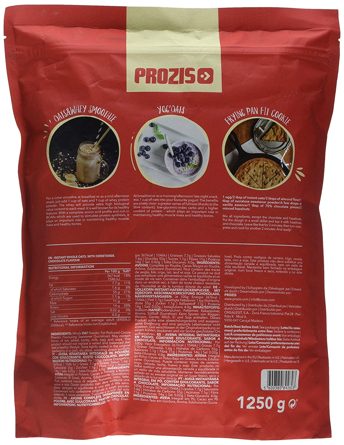 Prozis Instant Whole Oats, Sabor Chocolate - 1250 gr: Amazon.es: Salud y cuidado personal
