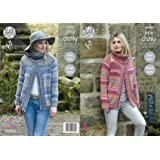 0fd989e98faec2 King Cole Ladies Chunky Knitting Pattern - Easy Knit Round or Polo Neck  Sweater Jacket (