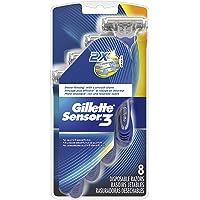 Gillette Sensor3 Men's Disposable Razor, 8 Count, Mens Razors/Blades