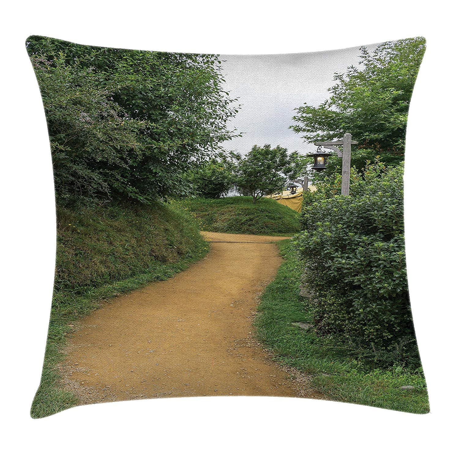 Queen Area Hobbits Elf Path in Woods of Hobbit Land in The Shire New Zealand Movie Print Square Throw Pillow Covers Cushion Case for Sofa Bedroom Car 18x18 Inch, Green Brown