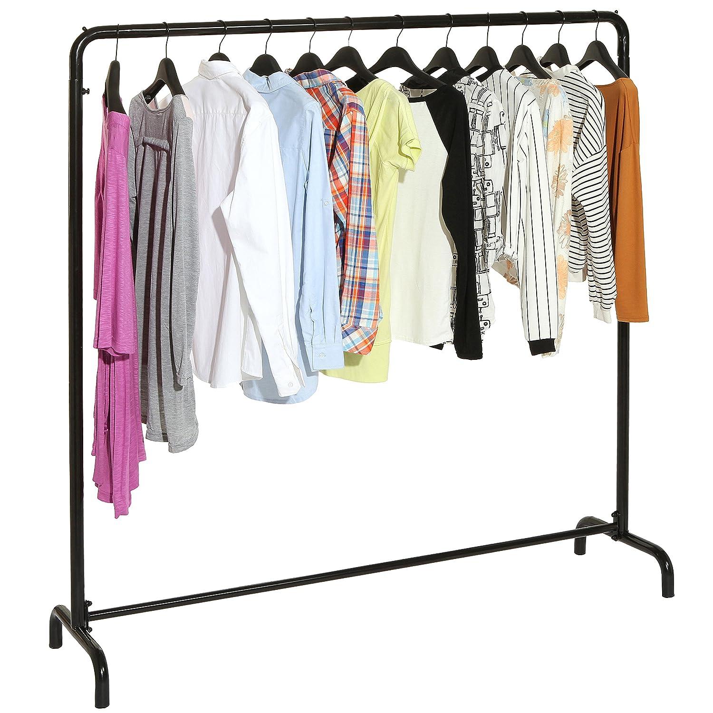 Freestanding Black Metal Clothes Rack Clothing Storage Organizer Standing Hanger Multifunction Stand Modern Garment Mygift Home Kitchen