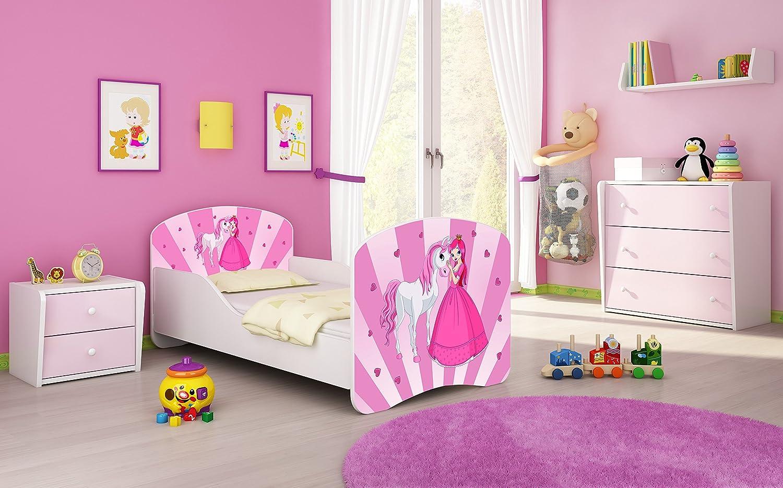 Letto per bambino Cameretta per bambino con materasso Cassetto ACMA I 08 La principessa con il pony, 160x80