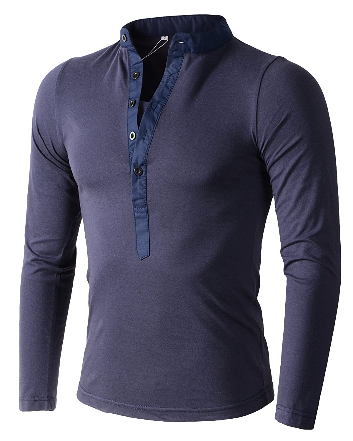 Mens Long Sleeve Slim Fit Henley Shirts Benibos TY11
