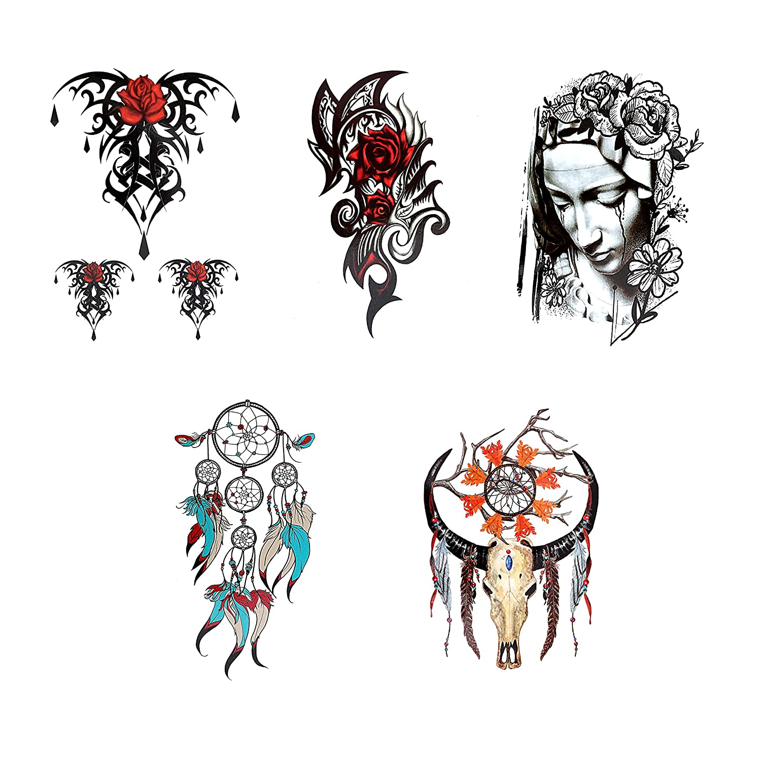 7 Cool Temporary Tattoos Assorted Styles and Designs - Dreamcatchers, Crying Woman, and Floral - For Adults and Teens Tattoos for Arms Legs Shoulder or Back