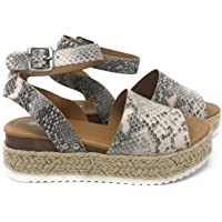cb75f7bea6b8 Womens Casual Espadrilles Trim Rubber Sole Flatform Studded Wedge Buckle  Ankle Strap Open Toe Sandals
