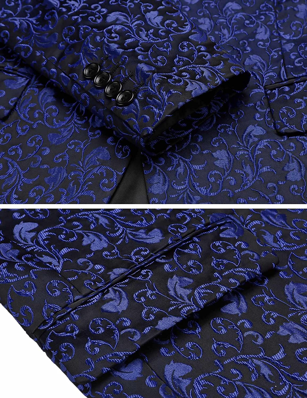 COOFANDY Mens Floral Party Dress Suit Stylish Dinner Jacket Wedding Blazer Prom Tuxedo
