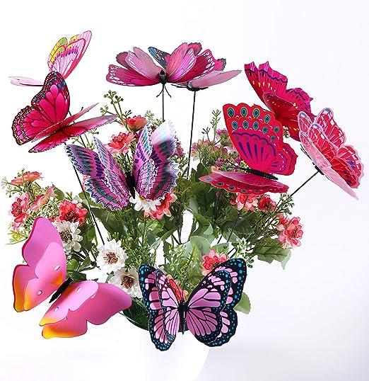 10 Piezas Mariposas en Varillas Para Decoración de Jardín, Mariposas de Jardín para Decoración de Planta, Patio, Flores Adornos para jarrón, Maceta, Morado/Rosa Mariposas: Amazon.es: Jardín