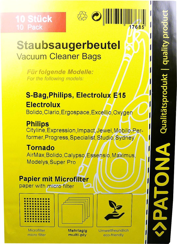 PATONA 10x Sacchetti per aspirapolvere carta per Philips FC 8380...8399-Impact HR 8300...8349-Expression…