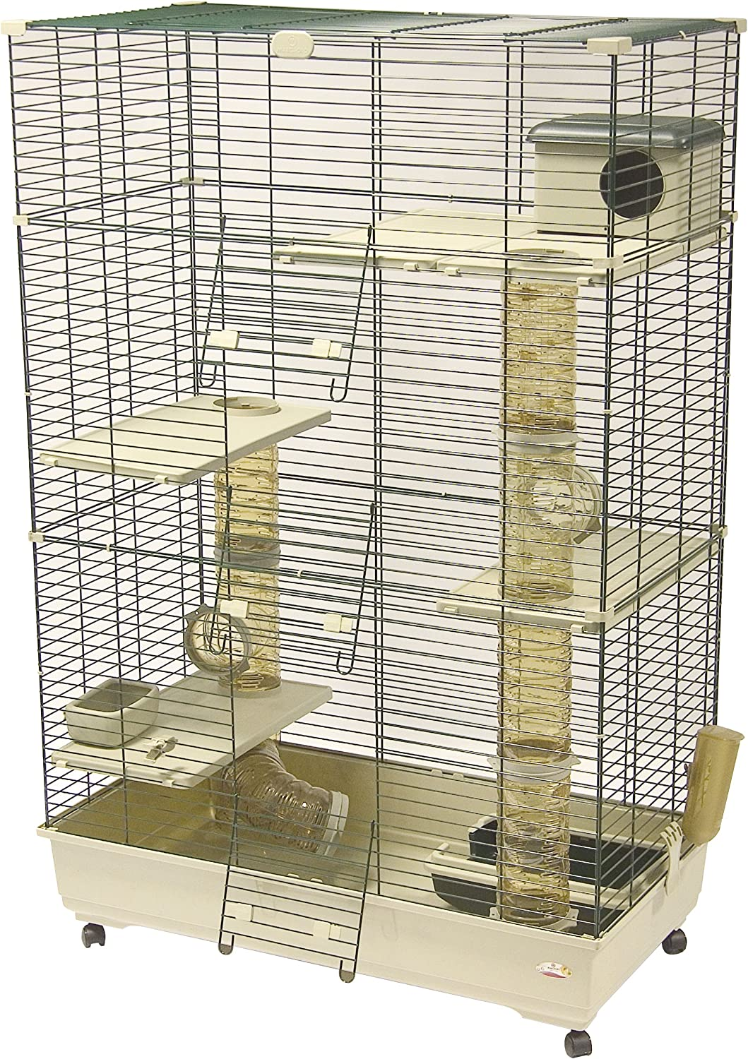 B000CQG466 Marchioro Sara 102 C3 Cage for Small Animals with Wheels, 40.25 inches, Beige/Green 91z7itBuVDL.SL1500_