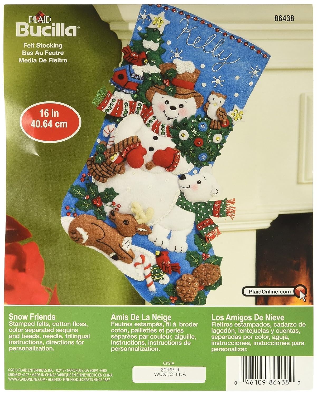 Bucilla 86438 Felt Applique Stocking Kit (16-Inch), Snow Friends, 16 16 Plaid Inc