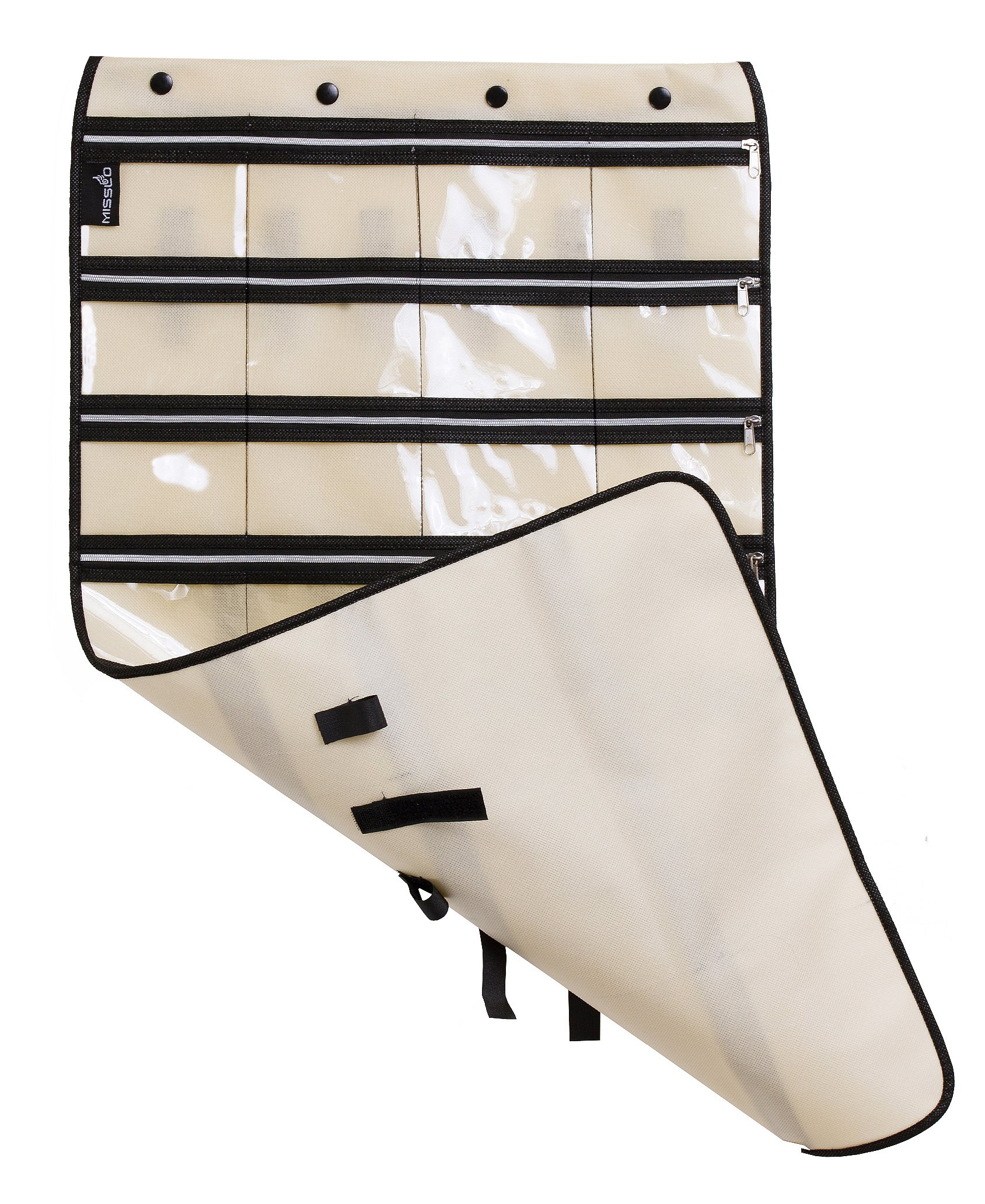 MISSLO Zippered Jewelry Organizer Hanging For Travel Home Storage 30 Zippered Pockets 17 Loops, Beige