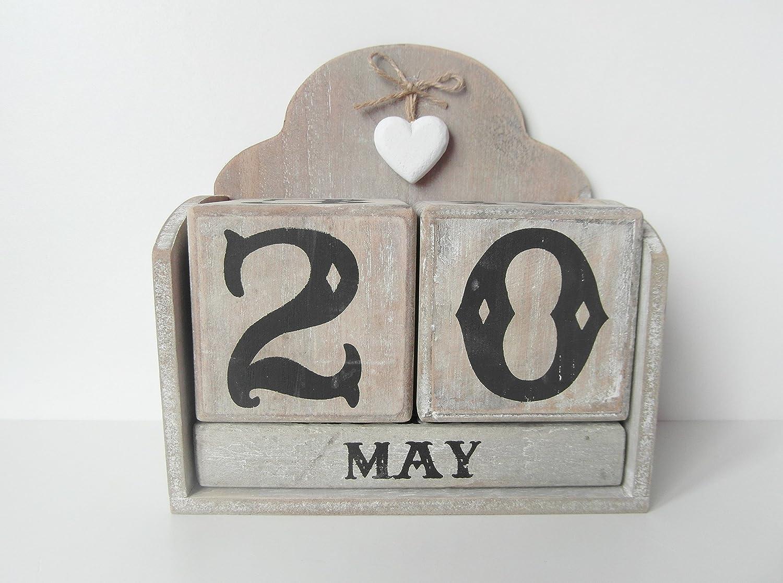 Estremamente Calendario perpetuo in legno a blocchi in stile shabby chic  LK68