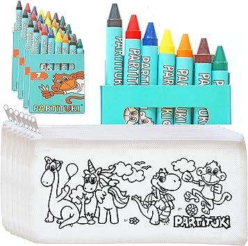 10 Estuches para Colorear Infantiles y 10 Sets de 7 Ceras de Colores Partituki. Con Certificado CE de no Toxicidad. Detalles para Cumpleaños Infantiles: Amazon.es: Juguetes y juegos